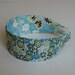 Papillon Blue Green and Metallic Silver Flowers Flexible Fabric Headband