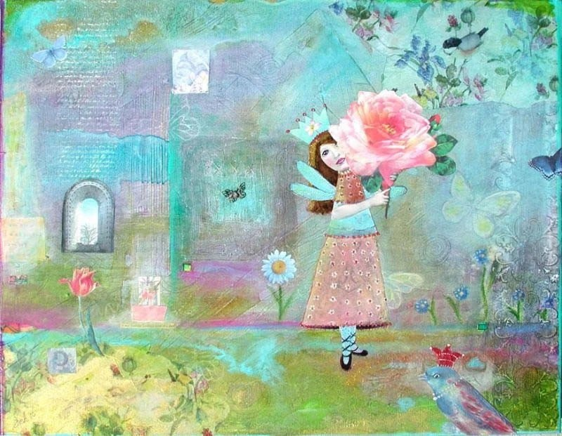 ON SALE NOW - Ruths Garden ORIGINAL Mixed Media Collage Painting