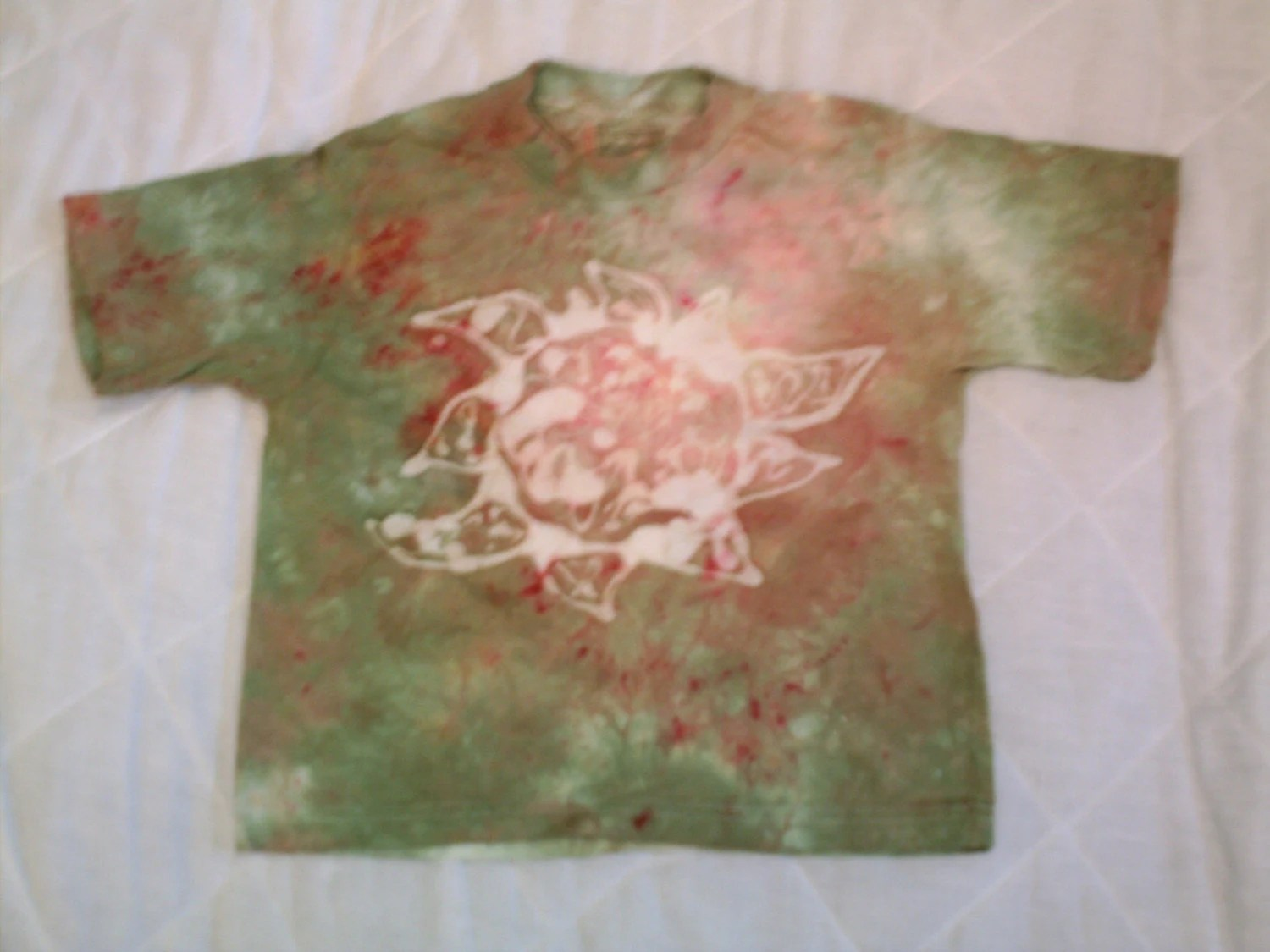SALE sun batik shirt, earth green and pink, youth small
