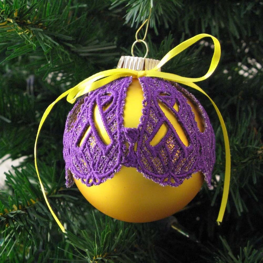 Lupus Awareness Ribbon Lace Ornament