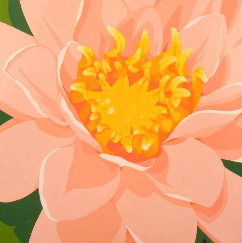 Original Modern Contemporary Pop Art Botanical Water Lily Waterlily Pink Painting by Kris Jean EBSQ