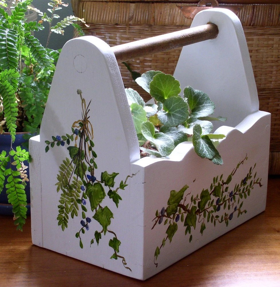 Hand Painted Wooden Planter with Ivy and Berries