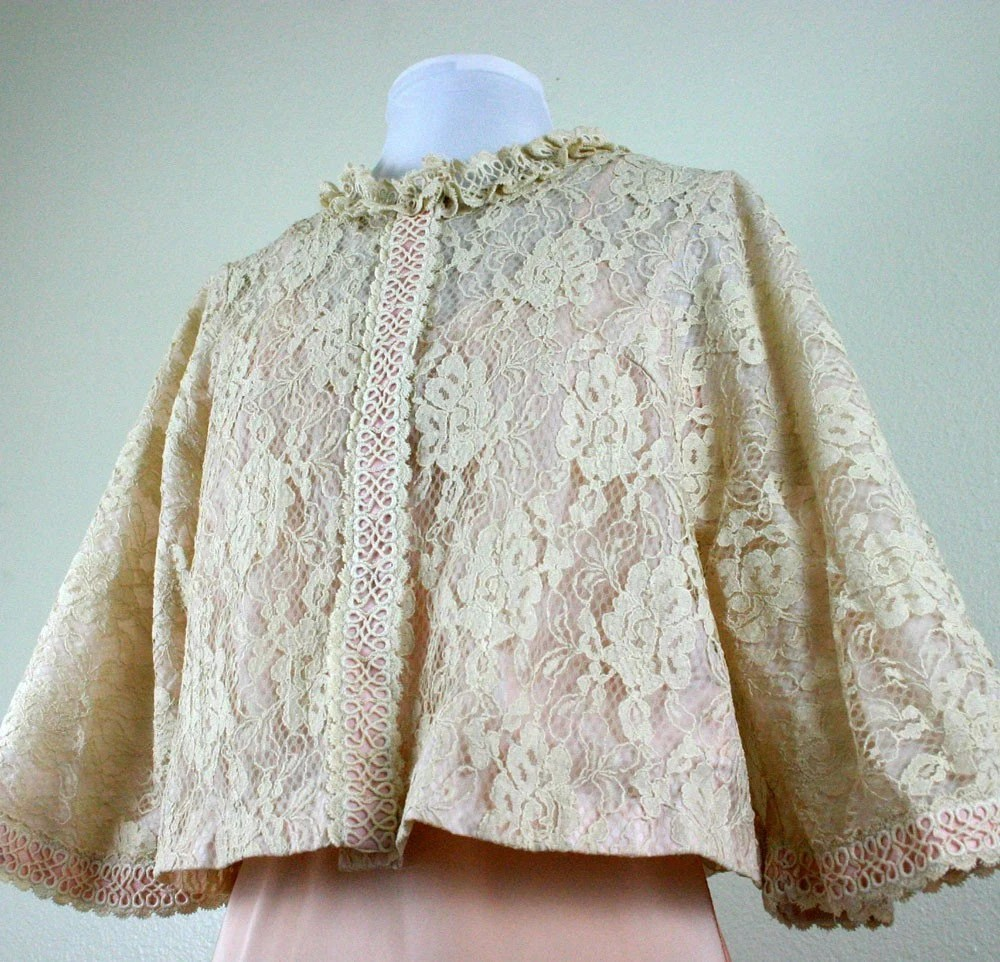 1960's Ecru Lace and Eyelet Bed Jacket