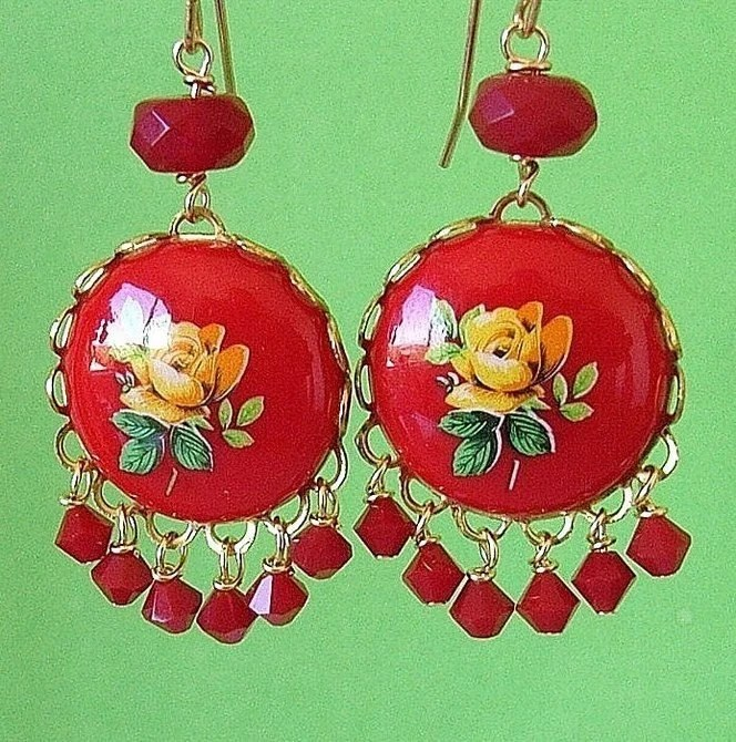 Yellow Rose Drop Earrings