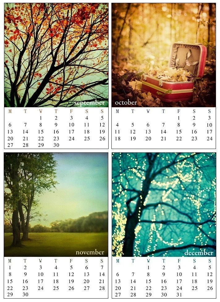 fall pages from Irene Suchokis 2010 desk calendars