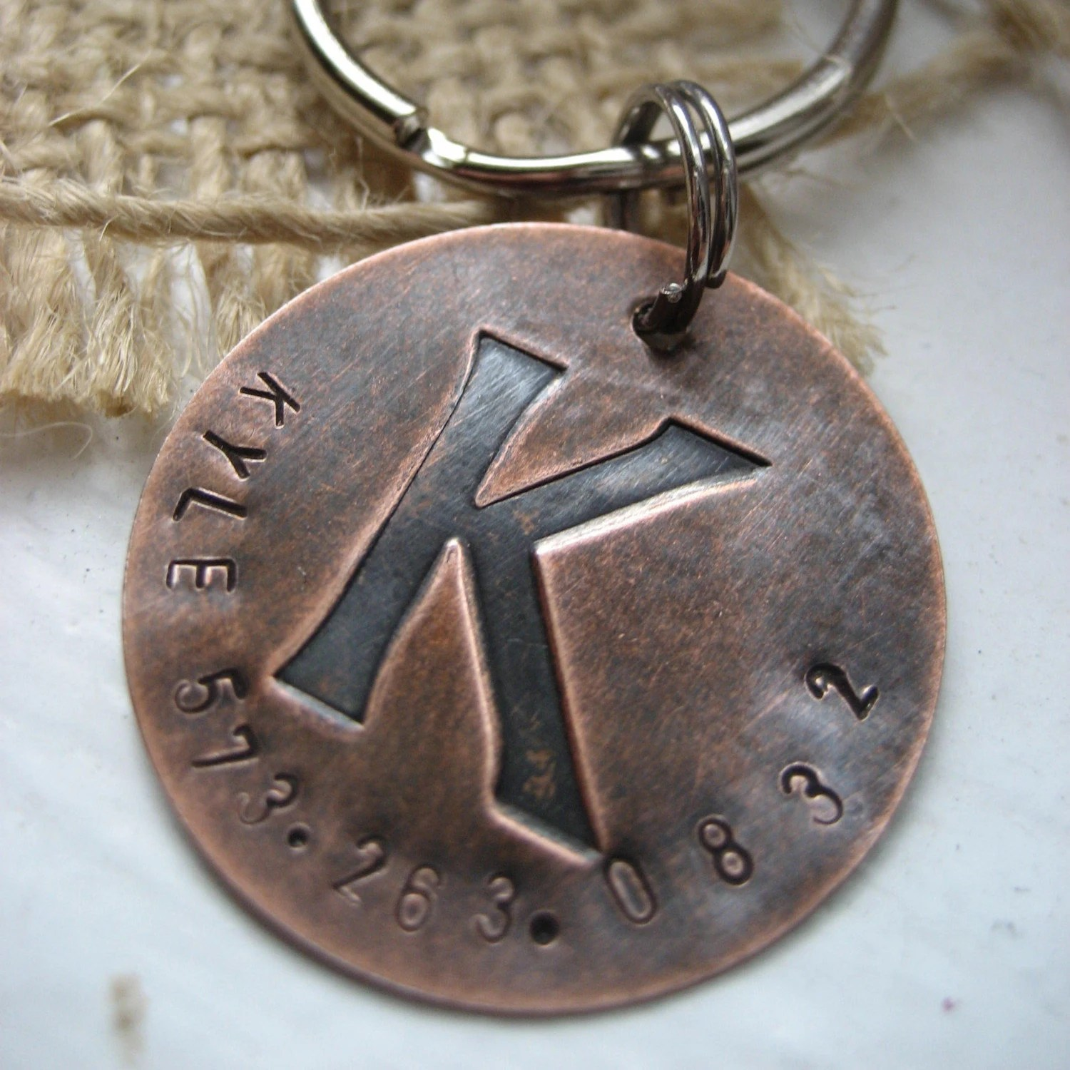 K is for Kyle - pick any letter- copper letter disc