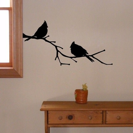 Cardinal Birds on a Branch, vinyl wall decal