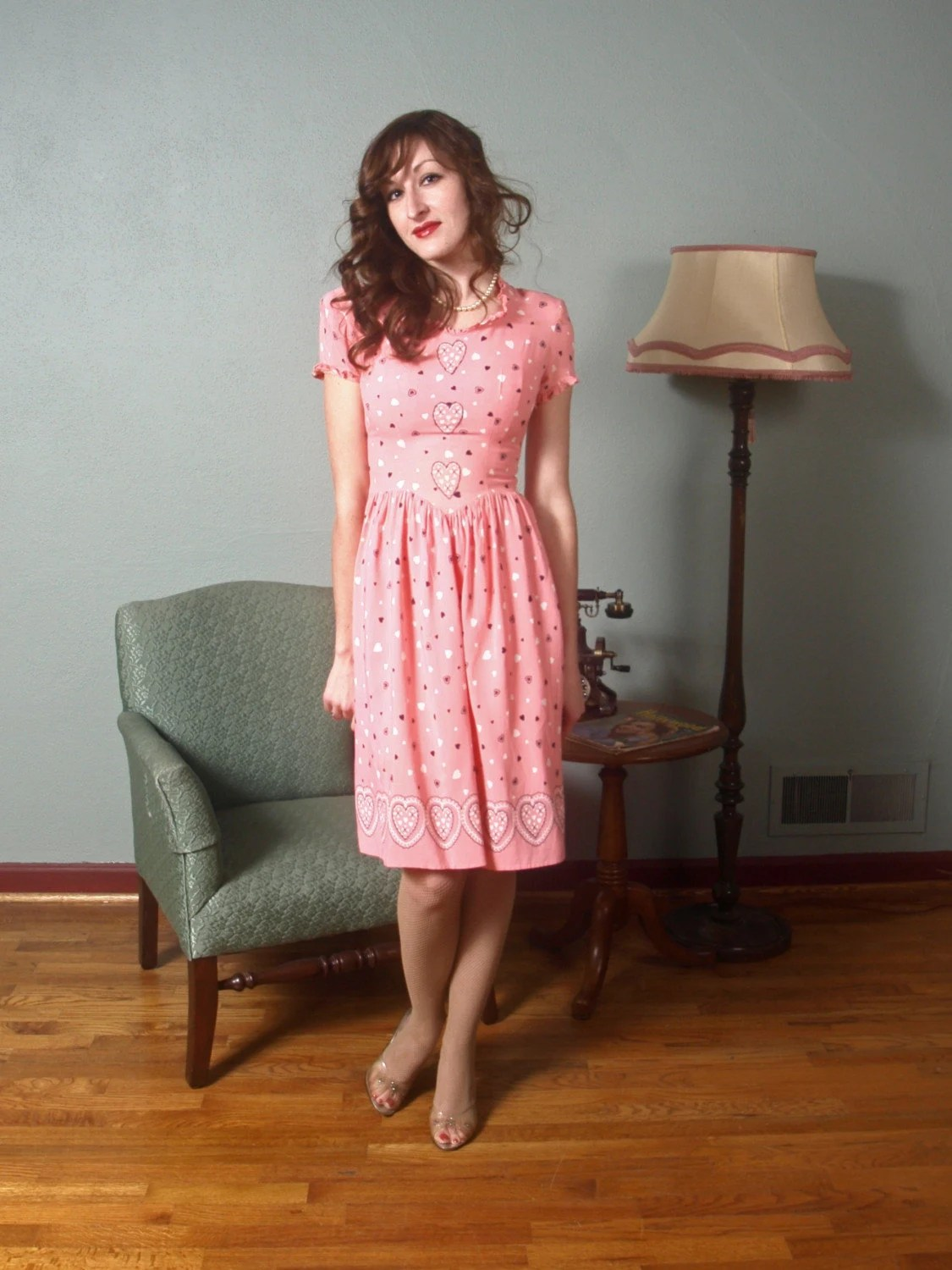 Be Mine Valentine... A 1930s Day Dress with the Most Whimsical Heart Print Ever