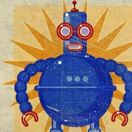 BOGO SALE - Boris Robot Box Art Print 8 in x 10 in