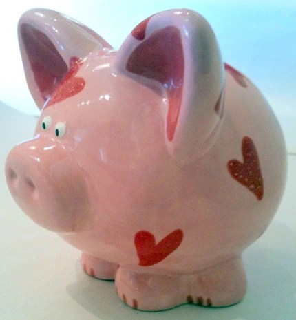 Pink Piggy Bank with Hearts