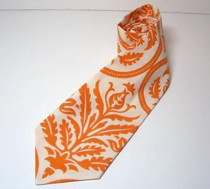 Me and Matilda Everyday Necktie Orange Damask