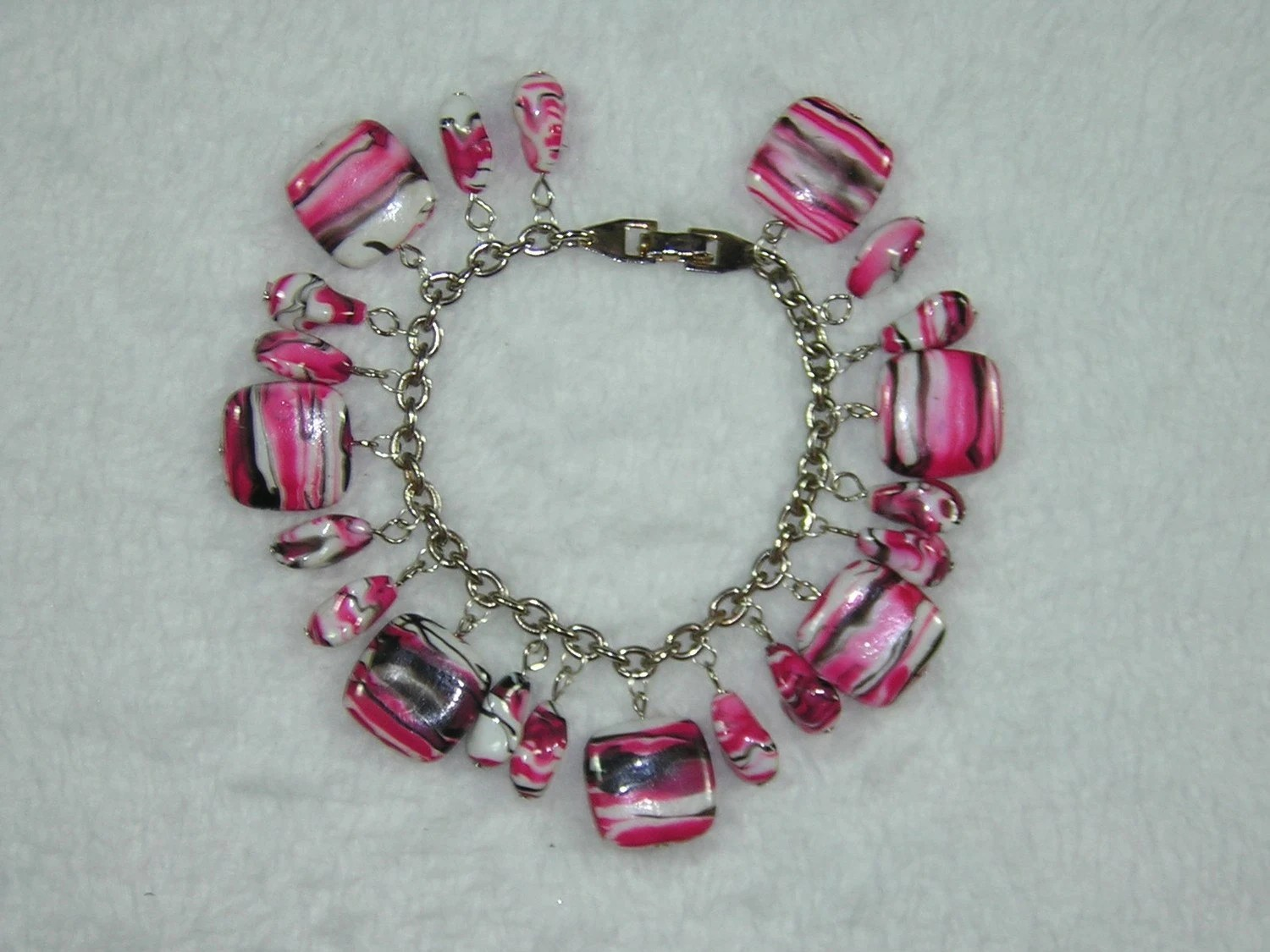 One of a Kind Upcycled Hot Pink, Black and White Beaded Charm Bracelet - Handmade by Rewondered D225B-00009 - $39.95