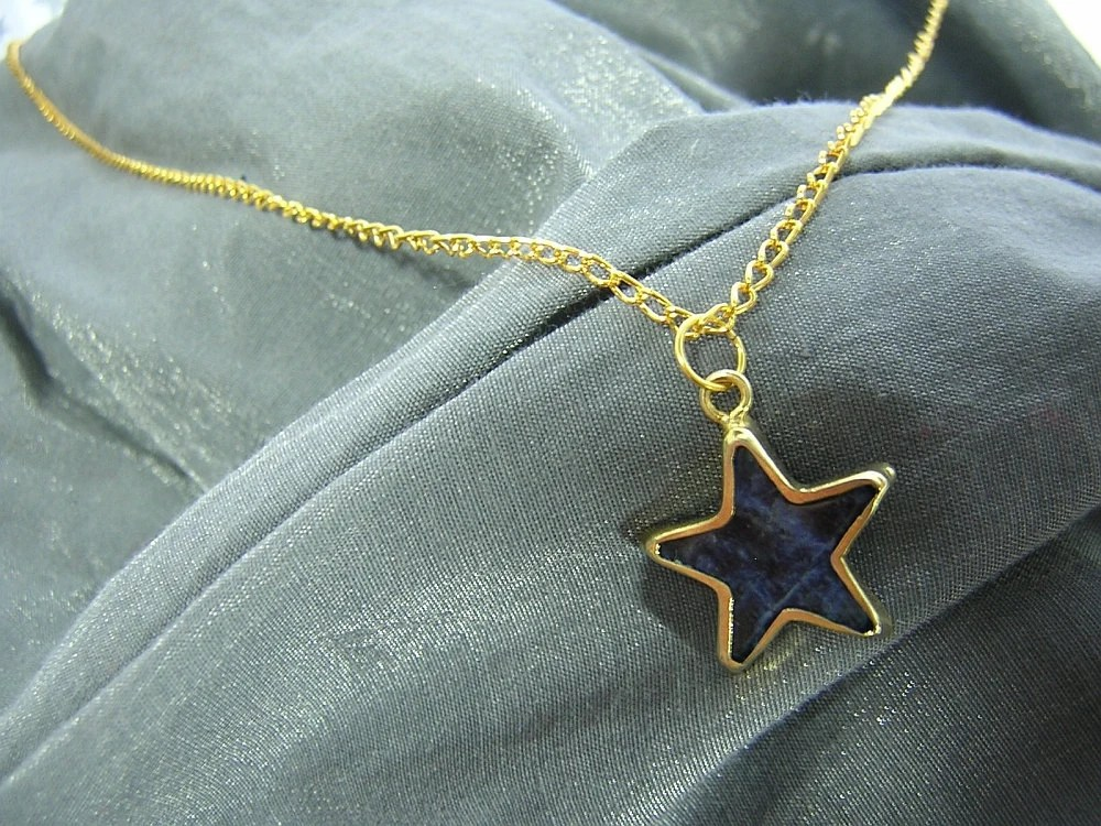 Blue Marble Gold-Framed Star on Gold Chain Simple Charm Necklace - Handmade by Rewondered D225N-00602 - $6.95