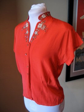 Vintage 1940s Red Rayon Blouse with Beaded Mandarin Collar - L