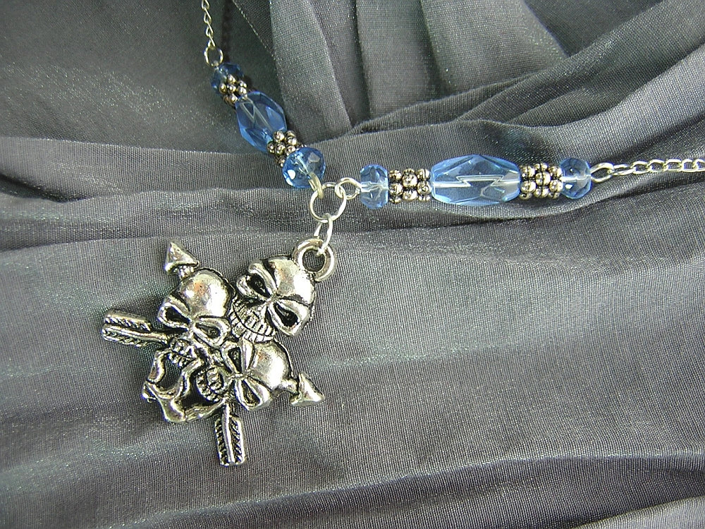 Blue and Silver Skulls with Arrows Charm and Beaded Necklace Handmade by Rewondered