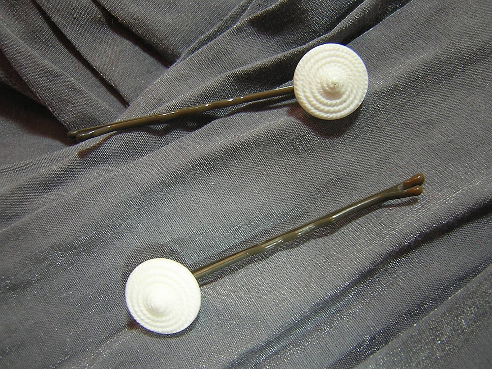 White 'Rope Coil' Round Button Hair Pins - Handmade by Rewondered D202P-00004 - $4.95
