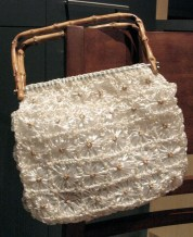 Vintage 1950s Cello Straw Handbag with Cane Handles.