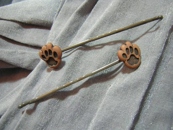 Brown and Black Mini Paw Hair Pins - Handmade by Rewondered D202P-00003 - $4.95