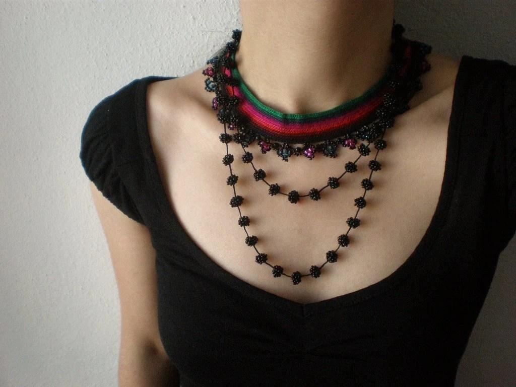 Leea Tinctoria  .... Freeform Beaded Crochet Necklace