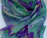 SPRING RAIN IRIS hand painted extra long silk chiffon scarf