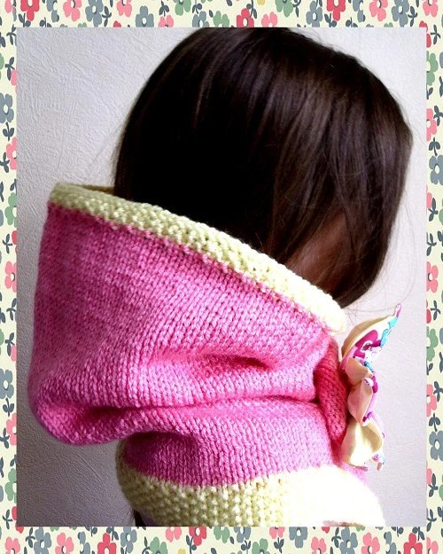 Child's Fondant Pink Hand Knitted Snood / Cowl / Tube Scarf  w/ Flower Brooch (will custom different colors and combinations)