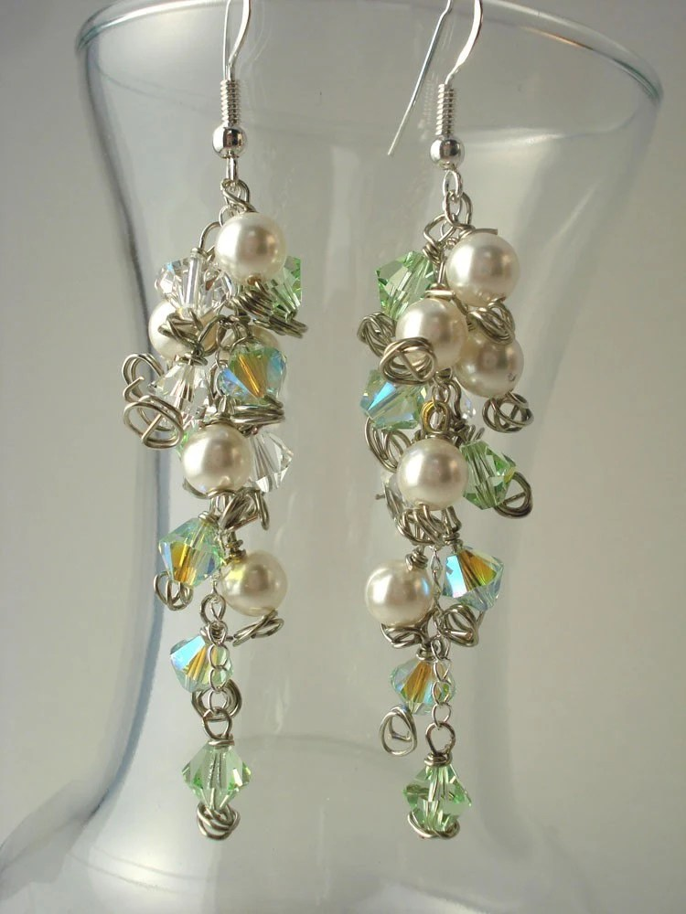Princess Green Crystal and White Pearl Cluster on Silver
