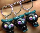 NIGHT OWL - w/ crystal eyes STITCH MARKERS knitting needles crochet