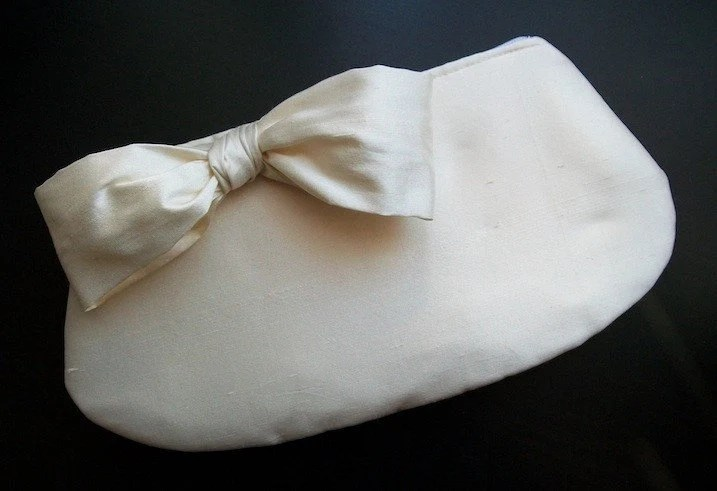 Ivory Silk Rounded Clutch