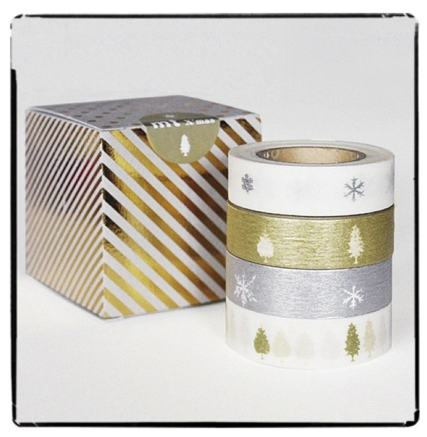 christmas masking tape 4 piece set  -  white, silver and gold - pine trees and snow flakes