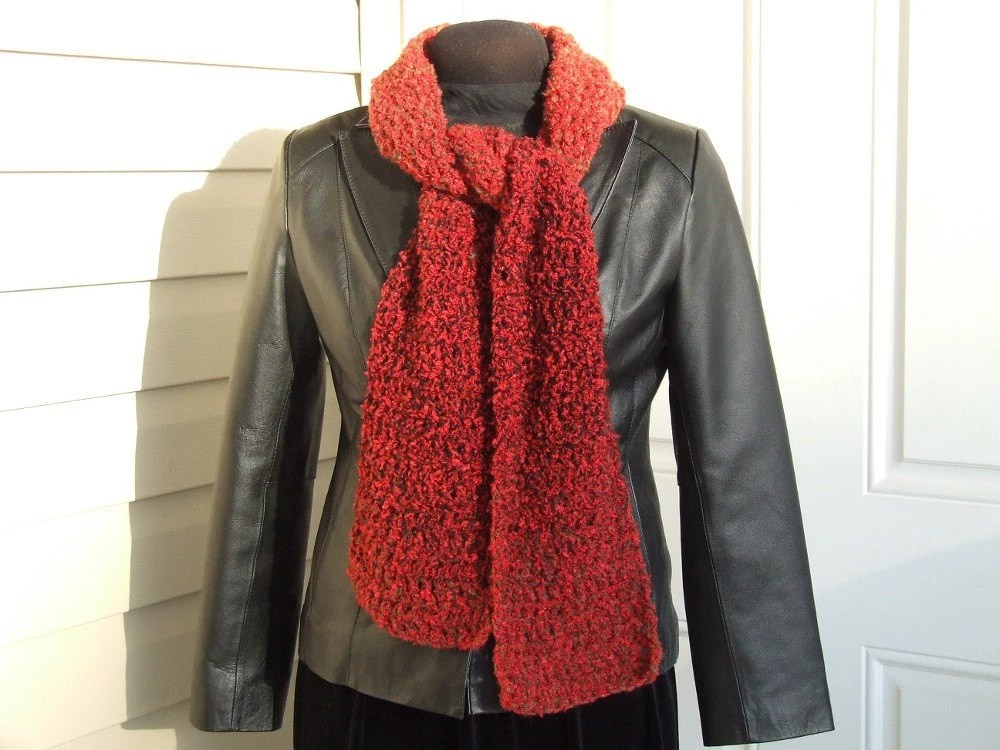 Rustic Red Boucle Scarf