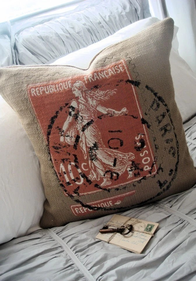 NEW FOR FALL  French Postage Stamp Grain Sack and Burlap Pillow Slip