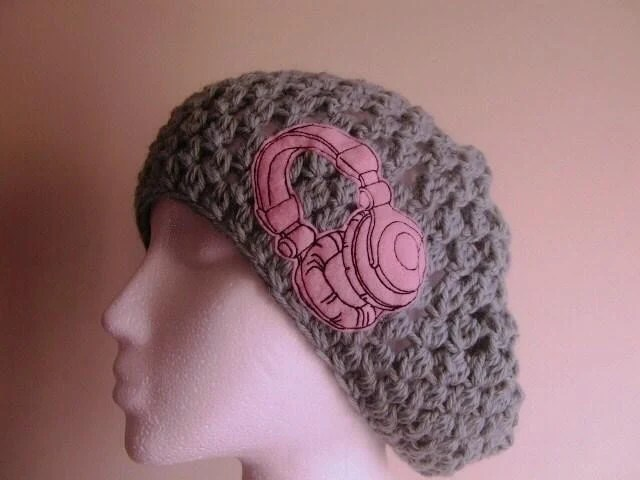 Headphones Are For Girls Slouchy Hat in Mint and Pink