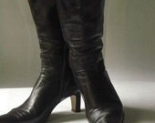 1970s Designer Vintage Italian Leather Boots in Rich Dark Chocolate by Galo - Size 8