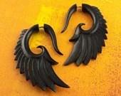 Fake Gauges - Nava Wings Horn Earrings
