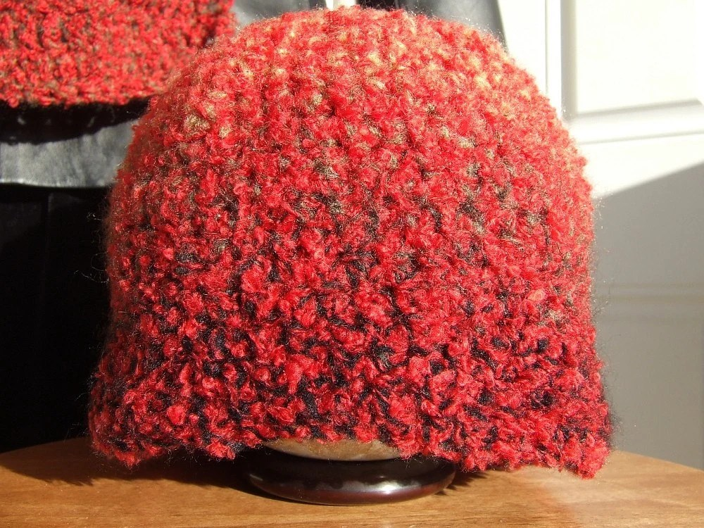 Rustic Red Boucle Hat