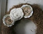 Sweet Little Moss and Muslin Wreath