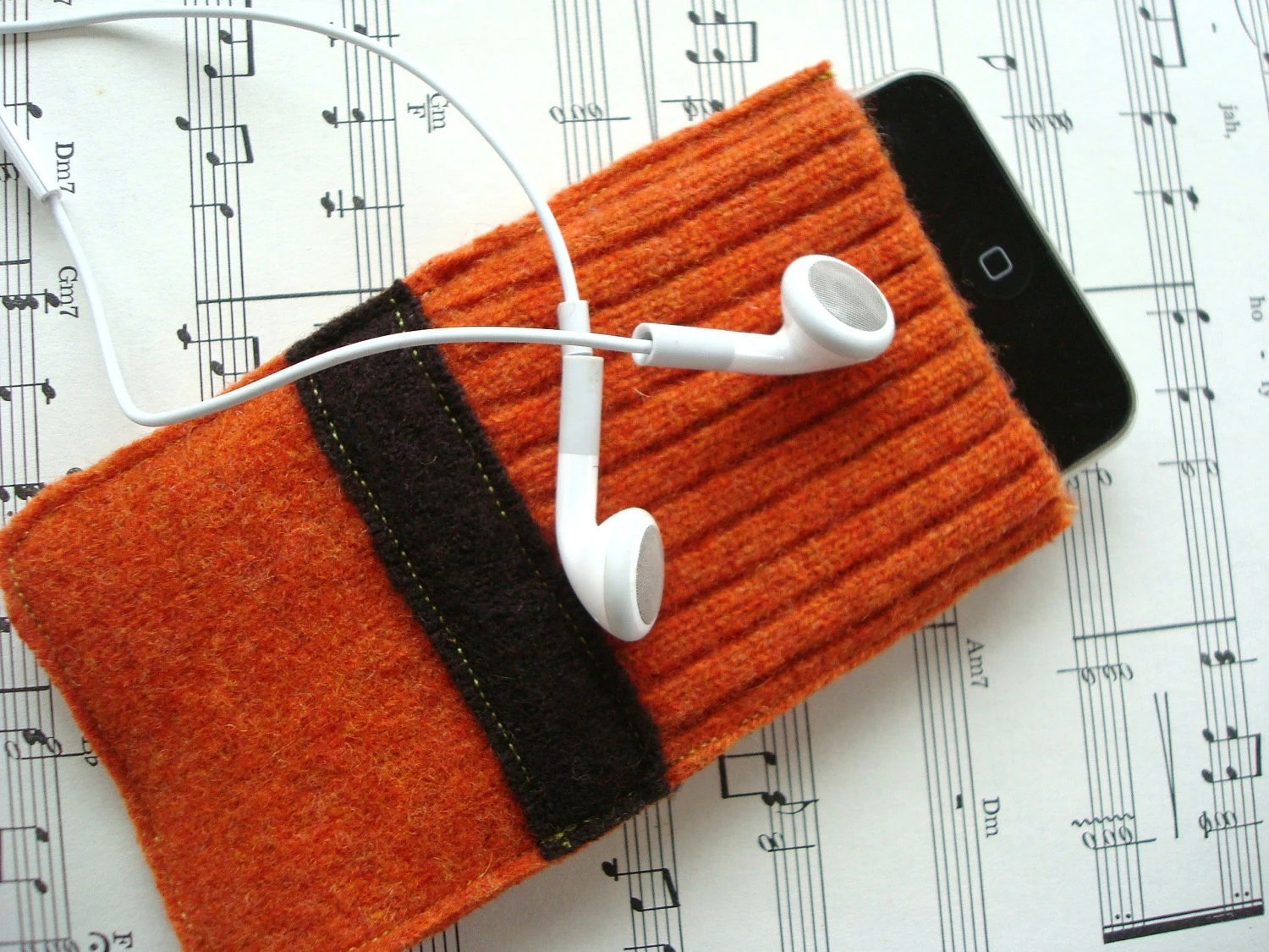 iPod Gadget Sweater ORANGE iPhone Cell Phone Case with Brown Band