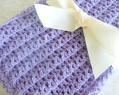 "Purple crochet baby blanket - 28"" x 28""  -  READY TO SHIP"
