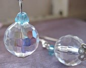 Crystal Clear Bead Earrings : Clear & Turquoise Bead Dangle Earrings (Silver Plated)