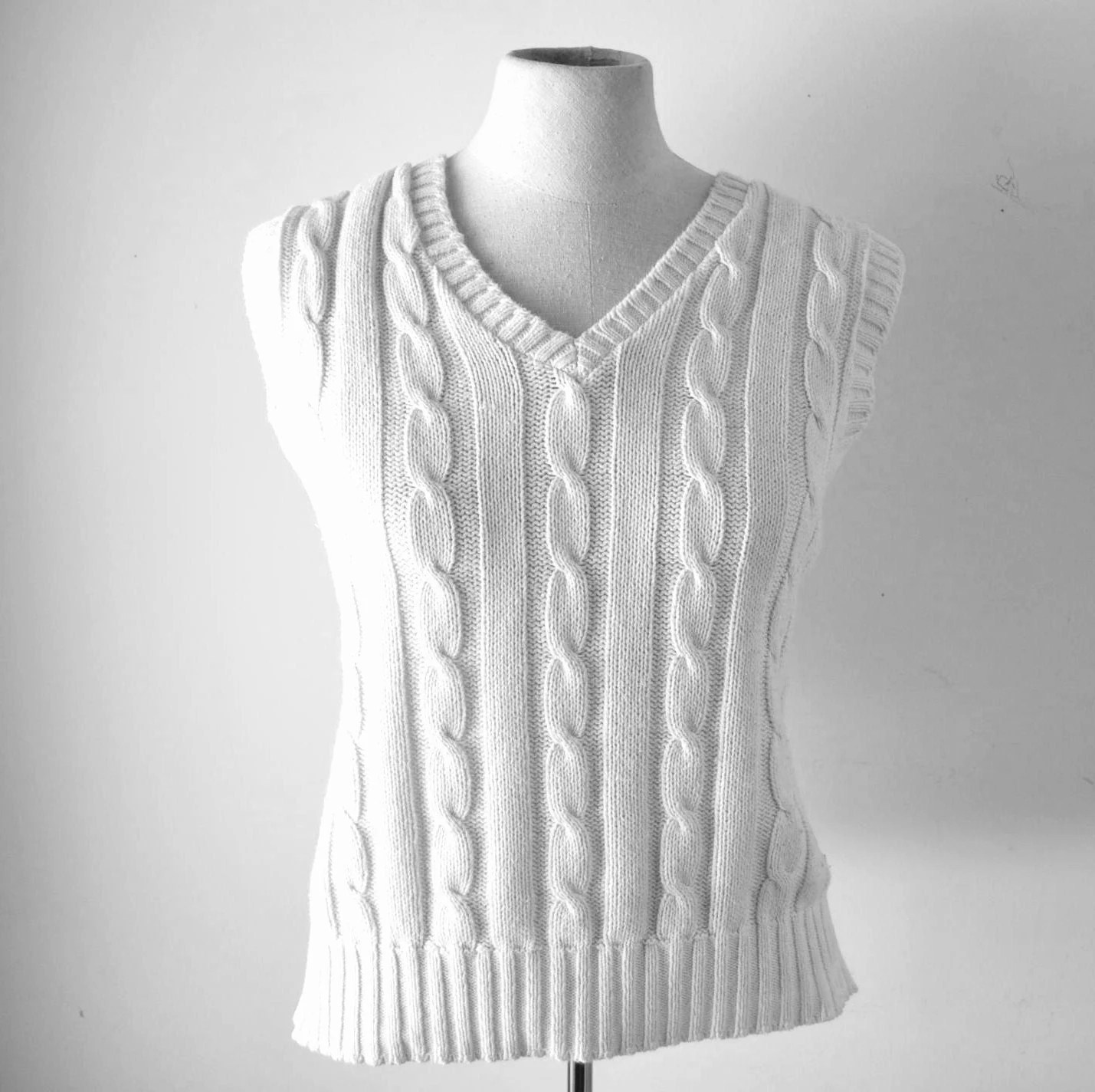vintage unisex 1970s prep school creamy white cotton cable knit sweater vest---treasury item..