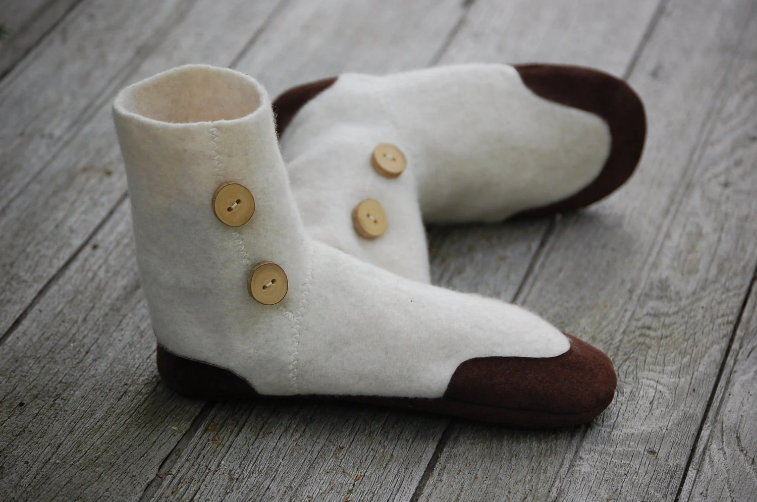 Lambswool Slippers from Upcycled Sweater, Women Size 9.5, Snow and Hot Chocolate