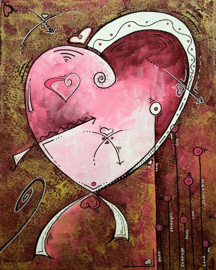 MADART 8x10 PRINT Abstract Fine ART Modern - HEART - SIGNATURE Style - 100 percent to Charity - HOPE