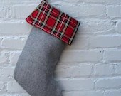 upcycled Christmas stocking / red tartan plaid and soft grey wool (2 left, ready to ship)
