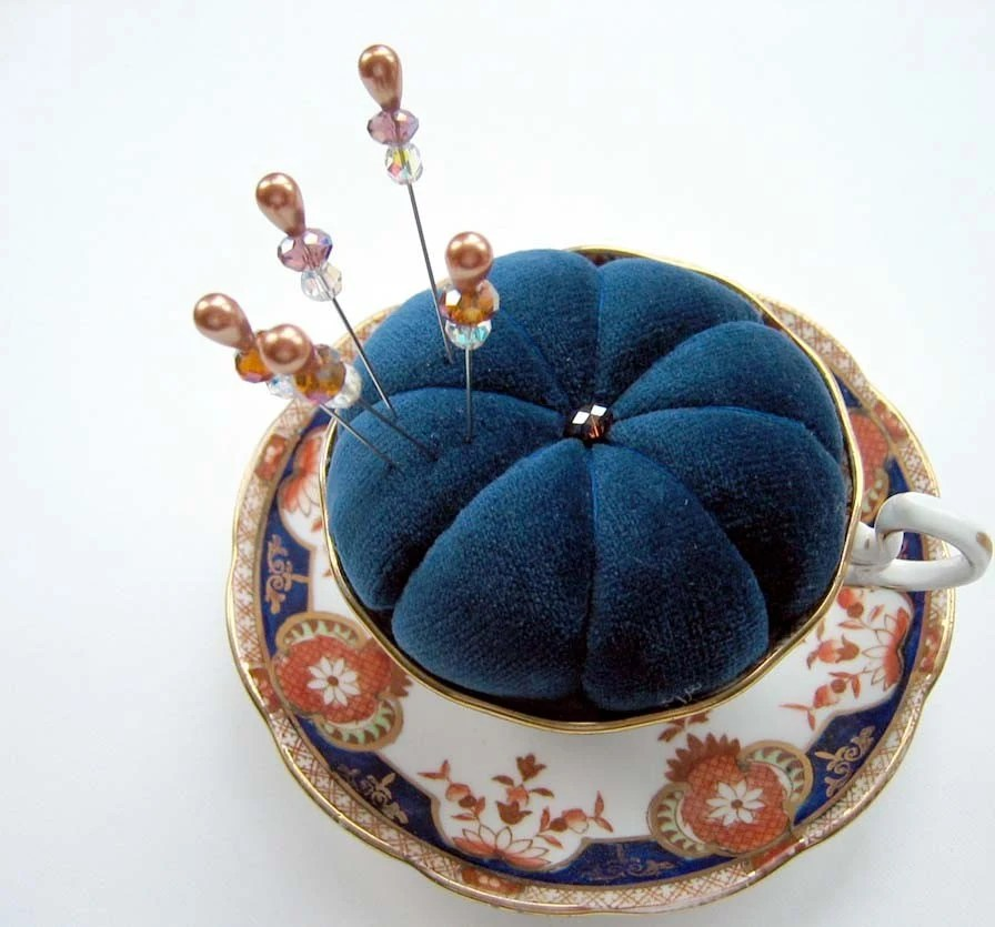 Blue Velvet Teacup Pincushion - Fit for a Queen - Five Matching Pin Toppers