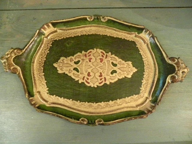 Vintage Gilt and Green Florentine Tray