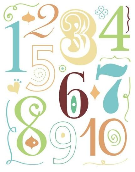numbers in blue - 16x20 print