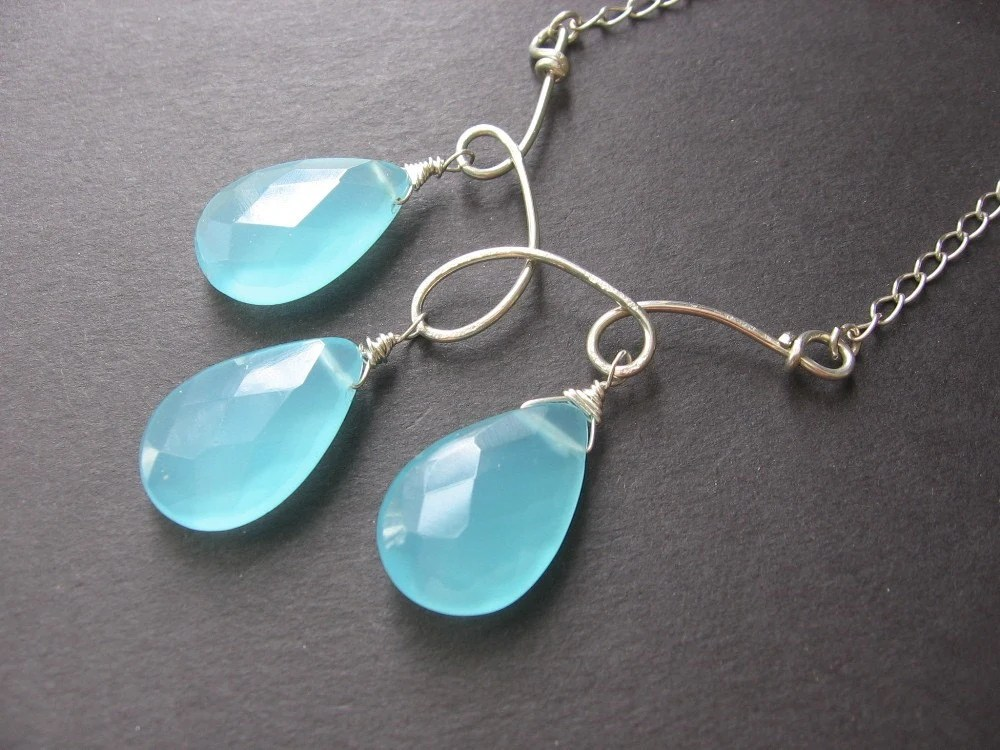 Dewdrop Necklace - Chalcedony, Sterling Silver