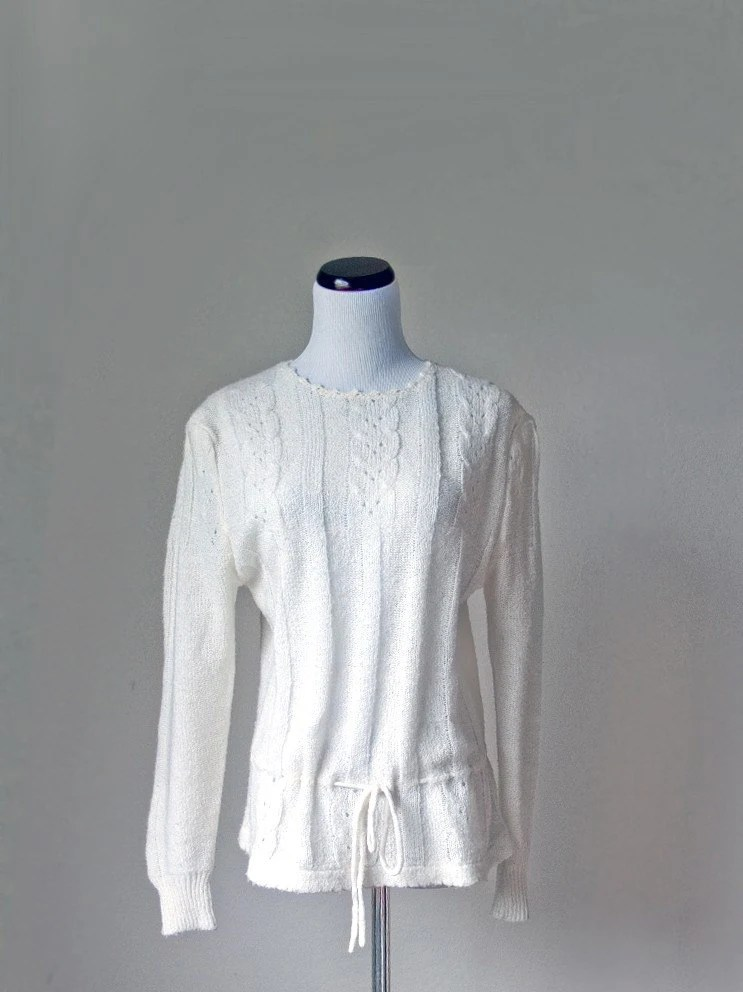 vintage Tie Waist White Knit Sweater