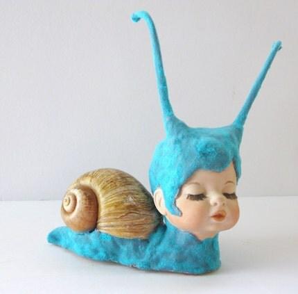 Blue Willow the Sleepy Snail - Original Sculpture