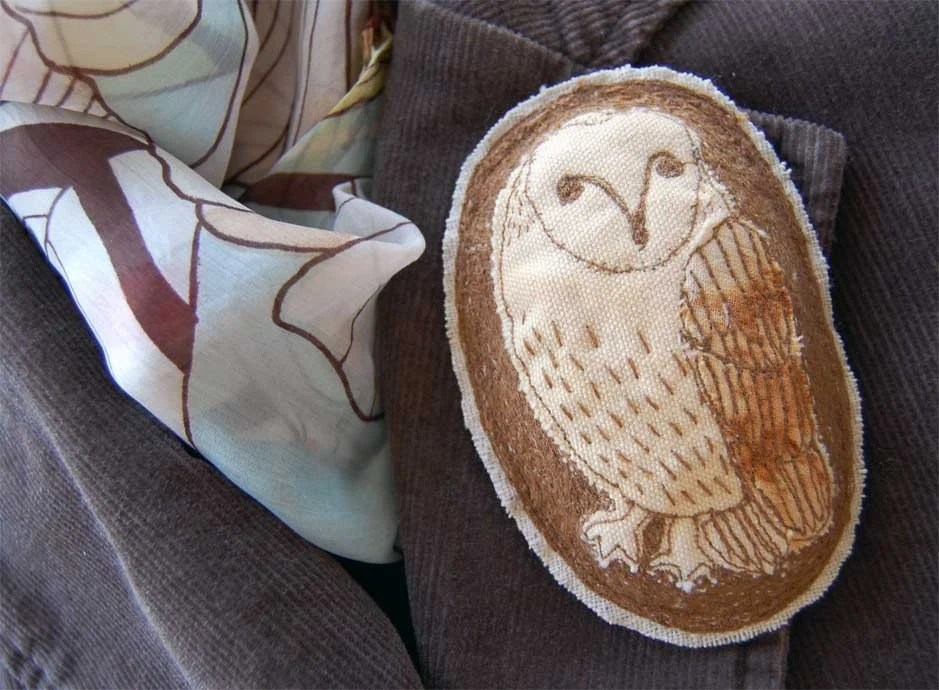 Embroidered Brooch - Barn Owl Large